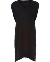 River Island Black V Neck Zip Side Shift Dress