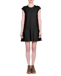 Stella McCartney Cap Sleeve Zip Detail Shift Dress Black