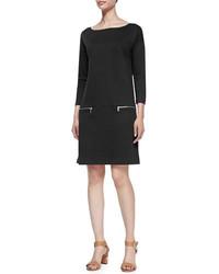 Joan Vass Knit Zip Pocket Shift Dress Petite