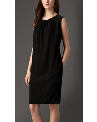Burberry Lambskin Panel Crepe Shift Dress