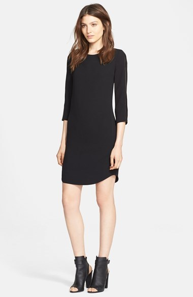 Vince Leather Strapping Long Sleeve Shift Dress 425 Nordstrom