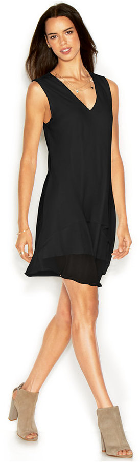 Rachel Roy Rachel Andi Dress Sleeveless V Neck Solid Shift Where