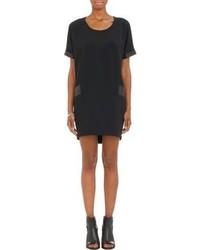 Rag and Bone Rag Bone Leather Detail Mabel Shift Dress Black