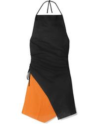 MARQUES ALMEIDA Ruched Two Tone Linen Halterneck Mini Dress