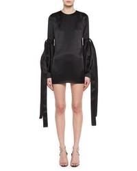 Saint Laurent Satin Tie Sleeve Shift Dress