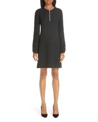 Michael Kors Scallop Button Detail Double Crepe Sable Shift Dress