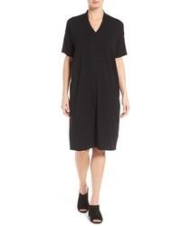 Eileen Fisher V Neck Stretch Jersey Shift Dress