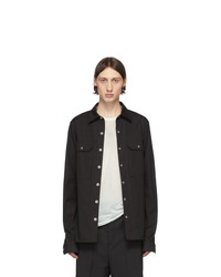Rick Owens Black Canvas Shirt