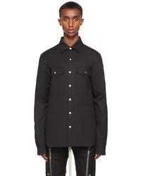 Rick Owens Black Poplin Outershirt Jacket