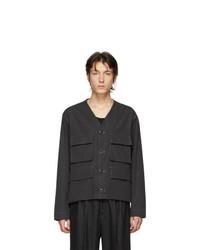Lemaire Black Poplin V Neck Jacket