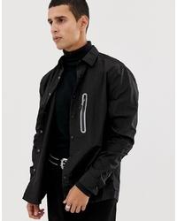 ASOS DESIGN Overshirt In Lightweight Nylon With Metallic Detail
