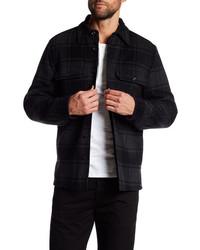 Vince Plaid Military Shirt Wool Blend Jacket