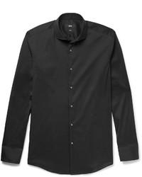 Hugo Boss Black Jason Slim Fit Cutaway Collar Stretch Cotton Blend Shirt