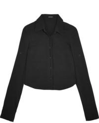 Ann Demeulemeester Cropped Crepe Shirt Black