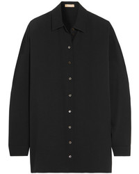 Michael Kors Michl Kors Collection Oversized Silk Georgette Shirt Black