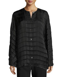 The Row Plisea Pleated Crepe Shirt Black