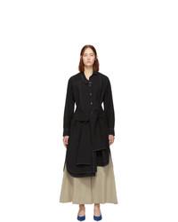 Loewe Black Wool Seersucker Shirt Dress