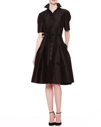 Carolina Herrera Flared Doupioni Shirtdress Black
