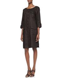 Go Silk Linen Pocket Front Shirtdress Petite