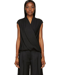 Helmut Lang Black Crepe Twisted Draped Ascend Blouse