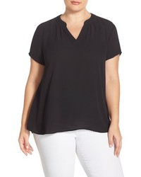 Sejour Plus Size Split Neck Short Sleeve Blouse