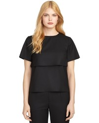 Brooks Brothers Short Sleeve Tier Blouse