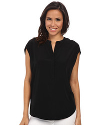 Adrianna Papell V Neck Blouse With Roll Crossed Body