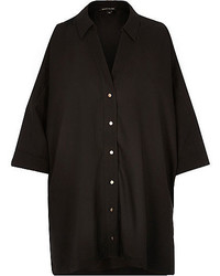 River Island Black Oversized Slashed Shoulder Shirt