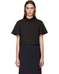 Black poplin cropped shirt medium 449738