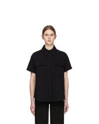 MM6 MAISON MARGIELA Black Towelling Two Pocket Short Sleeve Shirt