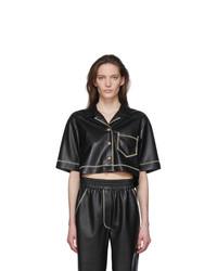 Nanushka Black Vegan Leather Rhett Shirt