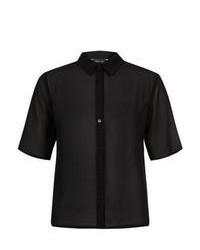 New Look Black Boxy Chiffon Short Sleeve Shirt