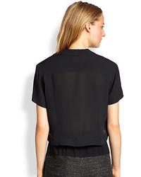 683b637a Rag and Bone Rag Bone Cropped League Silk Button Front Shirt, $350 ...