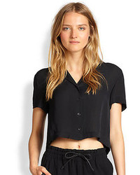 Rag and Bone Rag Bone Cropped League Silk Button Front Shirt