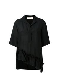 Marni Ruffle Trim Asymmetric Hem Shirt
