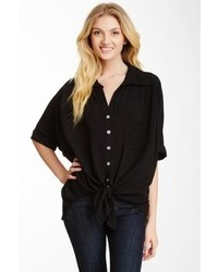 Karen Kane Shirred Tie Front Shirt