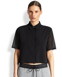 Alexander Wang T By Stretch Silk Cropped Frayed Shirt