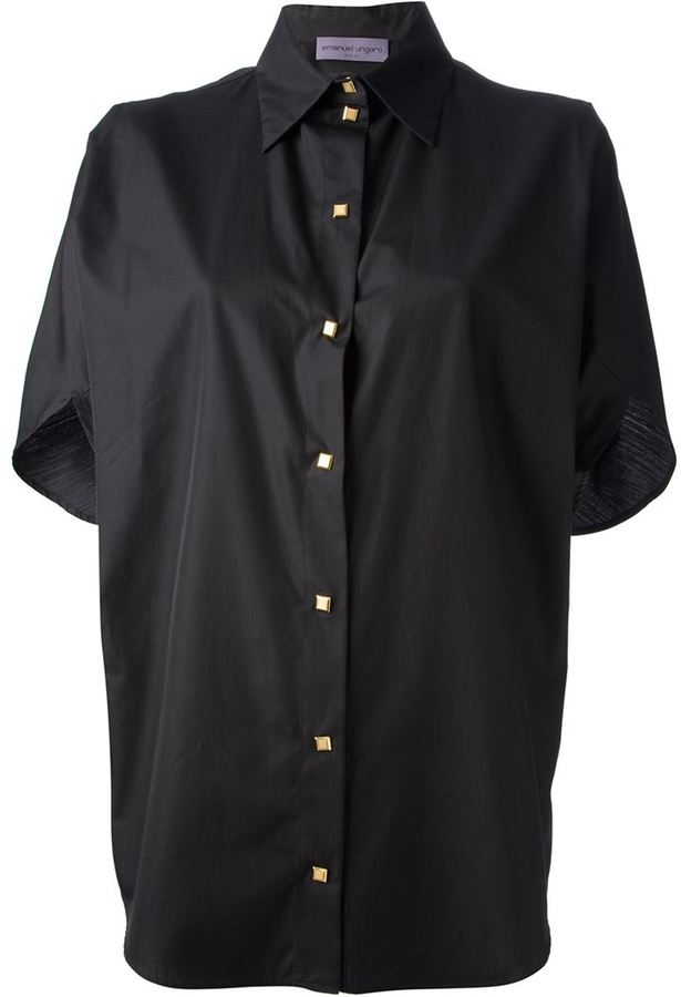 Black short sleeve button down shirt ungaro emanuel short for Where to buy button down shirts