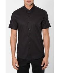 7 Diamonds Feel Free Trim Fit Short Sleeve Stripe Stretch Woven Shirt