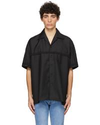 4SDESIGNS Black Braided Combo Short Sleeve Shirt