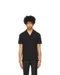 Z Zegna Black Crepe Short Sleeve Shirt