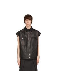 Rick Owens Black Leather Jumbo Outershirt Jacket