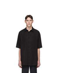 Valentino Black Lyocell Short Sleeve Shirt