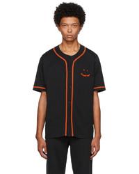 Ps By Paul Smith Black Orange Happy Baseball Short Sleeve Shirt