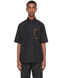 Fendi Black Poplin Short Sleeve Shirt