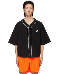 We11done Black Terrycloth Baseball Short Sleeve Shirt