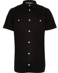 River Island Boys Black Military Shirt