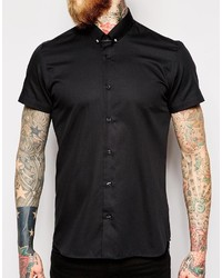 beb351c2aa9c ... Noose Monkey Noose Monkey Short Sleeve Shirt With Collar Bar In Skinny  Fit