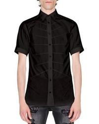 Alexander McQueen Rib Cage Velvet Short Sleeve Shirt Black