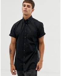 Tommy Hilfiger Short Sleeve Poplin Shirt Stretch Fit With Pique Flag Logo In Black